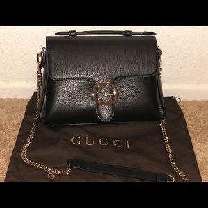 -Gucci Classic Black Calf Leather Shoulder Bag